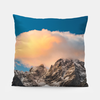 Thumbnail image of Burning clouds over the mountains Pillow, Live Heroes