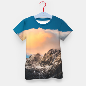 Thumbnail image of Burning clouds over the mountains Kid's t-shirt, Live Heroes