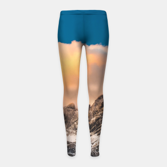 Thumbnail image of Burning clouds over the mountains Girl's leggings, Live Heroes