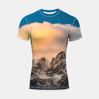 Thumbnail image of Burning clouds over the mountains Shortsleeve rashguard, Live Heroes