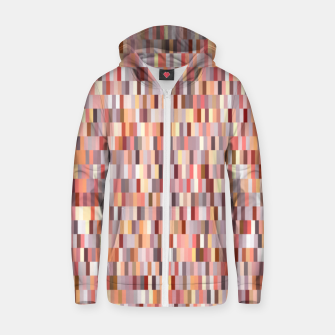 Thumbnail image of Peach, salmon and coral, pink shades, geometric pieces print Zip up hoodie, Live Heroes