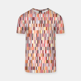 Thumbnail image of Peach, salmon and coral, pink shades, geometric pieces print T-shirt, Live Heroes