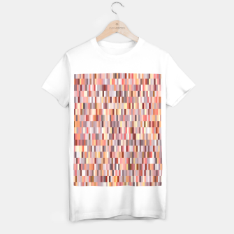 Thumbnail image of Peach, salmon and coral, pink shades, geometric pieces print T-shirt regular, Live Heroes