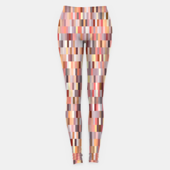 Thumbnail image of Peach, salmon and coral, pink shades, geometric pieces print Leggings, Live Heroes