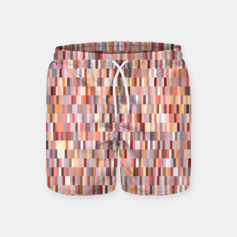 Thumbnail image of Peach, salmon and coral, pink shades, geometric pieces print Swim Shorts, Live Heroes