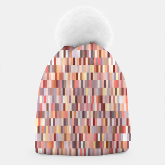 Thumbnail image of Peach, salmon and coral, pink shades, geometric pieces print Beanie, Live Heroes