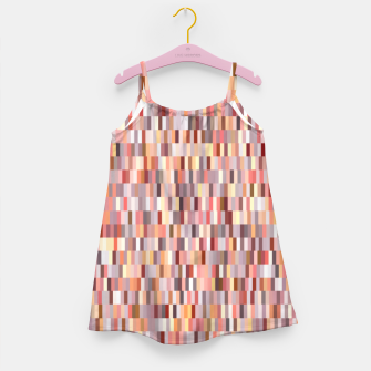 Thumbnail image of Peach, salmon and coral, pink shades, geometric pieces print Girl's dress, Live Heroes