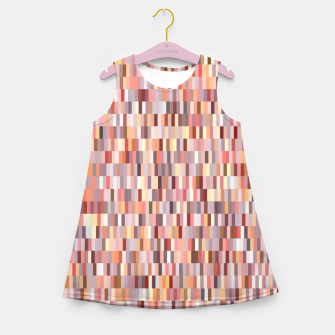 Thumbnail image of Peach, salmon and coral, pink shades, geometric pieces print Girl's summer dress, Live Heroes