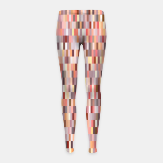 Miniature de image de Peach, salmon and coral, pink shades, geometric pieces print Girl's leggings, Live Heroes