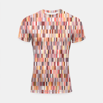 Thumbnail image of Peach, salmon and coral, pink shades, geometric pieces print Shortsleeve rashguard, Live Heroes