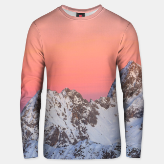 Thumbnail image of Glowing sunset sky and snowy mountains Unisex sweater, Live Heroes