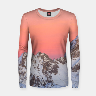 Miniatur Glowing sunset sky and snowy mountains Women sweater, Live Heroes