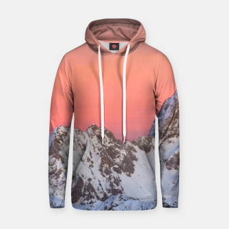 Thumbnail image of Glowing sunset sky and snowy mountains Hoodie, Live Heroes
