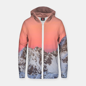 Thumbnail image of Glowing sunset sky and snowy mountains Zip up hoodie, Live Heroes