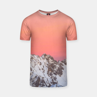 Thumbnail image of Glowing sunset sky and snowy mountains T-shirt, Live Heroes