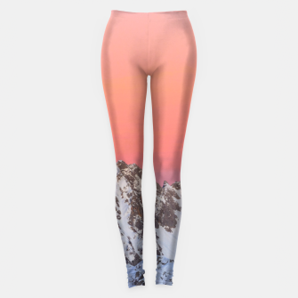 Thumbnail image of Glowing sunset sky and snowy mountains Leggings, Live Heroes