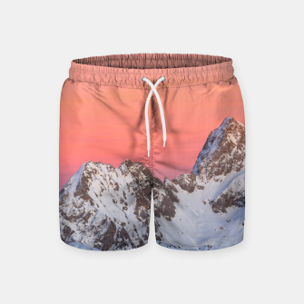Thumbnail image of Glowing sunset sky and snowy mountains Swim Shorts, Live Heroes