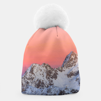 Thumbnail image of Glowing sunset sky and snowy mountains Beanie, Live Heroes