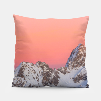 Thumbnail image of Glowing sunset sky and snowy mountains Pillow, Live Heroes