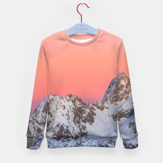 Thumbnail image of Glowing sunset sky and snowy mountains Kid's sweater, Live Heroes