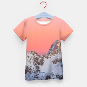 Thumbnail image of Glowing sunset sky and snowy mountains Kid's t-shirt, Live Heroes