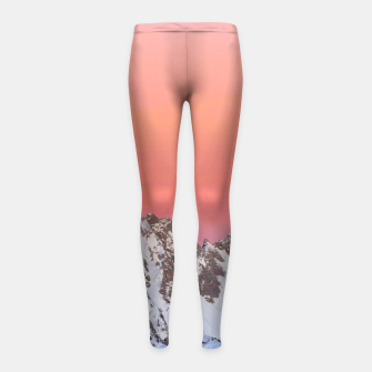 Thumbnail image of Glowing sunset sky and snowy mountains Girl's leggings, Live Heroes