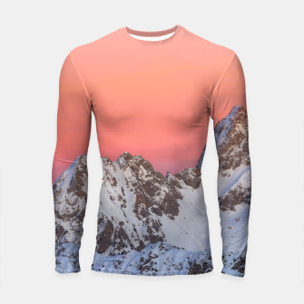 Thumbnail image of Glowing sunset sky and snowy mountains Longsleeve rashguard , Live Heroes