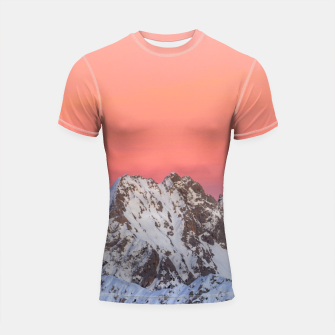 Thumbnail image of Glowing sunset sky and snowy mountains Shortsleeve rashguard, Live Heroes