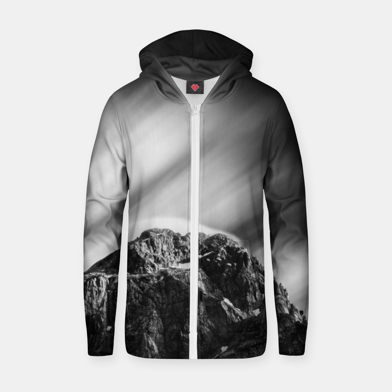 Image of Clouds rolling above mountain Mangart Zip up hoodie - Live Heroes