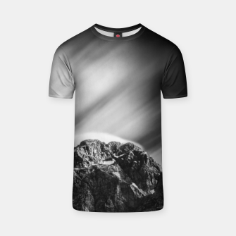 Miniatur Clouds rolling above mountain Mangart T-shirt, Live Heroes