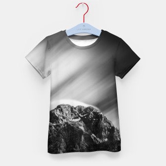 Miniatur Clouds rolling above mountain Mangart Kid's t-shirt, Live Heroes
