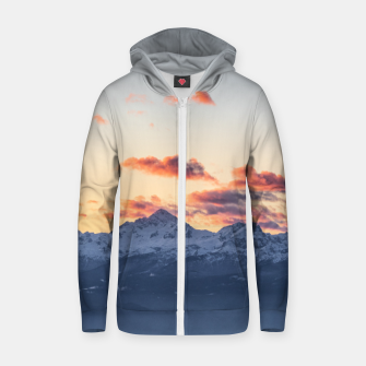 Imagen en miniatura de Bright orange clouds above Triglav, Slovenia Zip up hoodie, Live Heroes