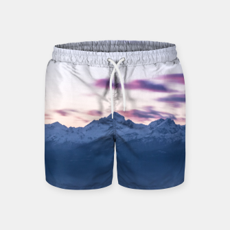 Thumbnail image of Misty clouds above mountain Triglav, Slovenia Swim Shorts, Live Heroes
