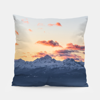 Imagen en miniatura de Bright orange clouds above Triglav, Slovenia Pillow, Live Heroes