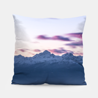 Thumbnail image of Misty clouds above mountain Triglav, Slovenia Pillow, Live Heroes