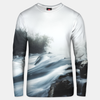Thumbnail image of Cascade waterfall on foggy mystical morning Unisex sweater, Live Heroes