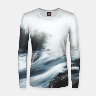 Thumbnail image of Cascade waterfall on foggy mystical morning Women sweater, Live Heroes