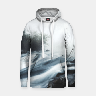 Thumbnail image of Cascade waterfall on foggy mystical morning Hoodie, Live Heroes