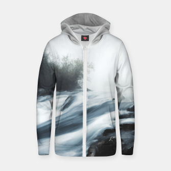 Thumbnail image of Cascade waterfall on foggy mystical morning Zip up hoodie, Live Heroes