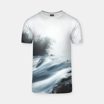 Thumbnail image of Cascade waterfall on foggy mystical morning T-shirt, Live Heroes