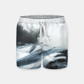 Thumbnail image of Cascade waterfall on foggy mystical morning Swim Shorts, Live Heroes