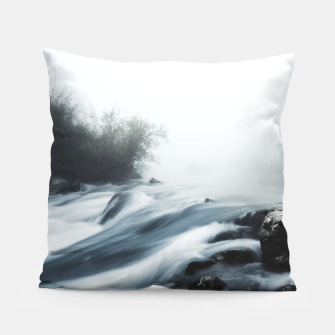Thumbnail image of Cascade waterfall on foggy mystical morning Pillow, Live Heroes