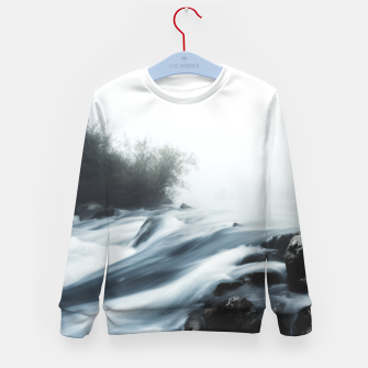 Thumbnail image of Cascade waterfall on foggy mystical morning Kid's sweater, Live Heroes