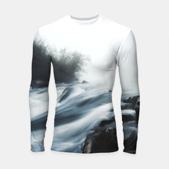 Thumbnail image of Cascade waterfall on foggy mystical morning Longsleeve rashguard , Live Heroes