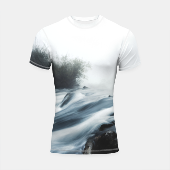 Thumbnail image of Cascade waterfall on foggy mystical morning Shortsleeve rashguard, Live Heroes