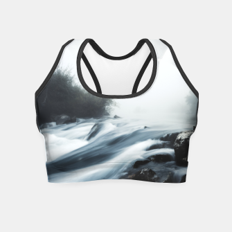 Thumbnail image of Cascade waterfall on foggy mystical morning Crop Top, Live Heroes