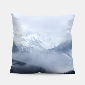 Thumbnail image of Mysterious fog rolling through layers of hills and mountains Pillow, Live Heroes