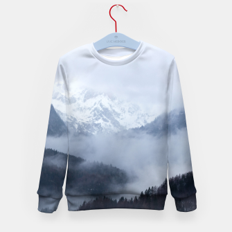 Thumbnail image of Mysterious fog rolling through layers of hills and mountains Kid's sweater, Live Heroes