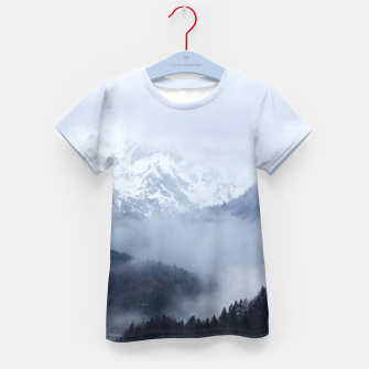 Thumbnail image of Mysterious fog rolling through layers of hills and mountains Kid's t-shirt, Live Heroes