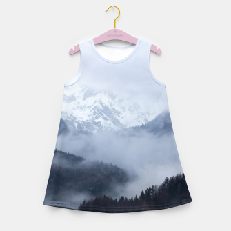 Thumbnail image of Mysterious fog rolling through layers of hills and mountains Girl's summer dress, Live Heroes